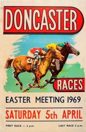 Doncaster Horse Races 1969 - original vintage horse racing poster listed on AntikBar.co.uk