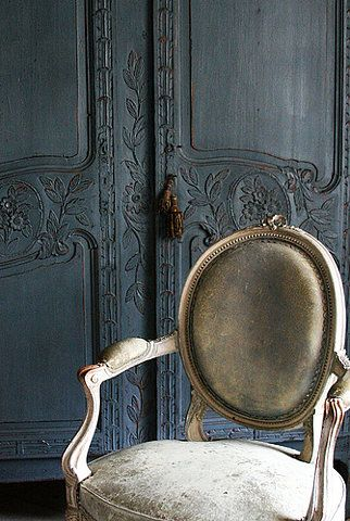 Love that deep blue-gray Country French Armoire & the Country French Chair with the light gray upholstery. Beautiful Design Details!