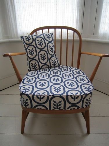 Beautiful Vintage Ercol Windsor Armchair in Spoonflower Fabric | eBay £375. Zolli Hollinger Spoonflower fabric Copenhagen