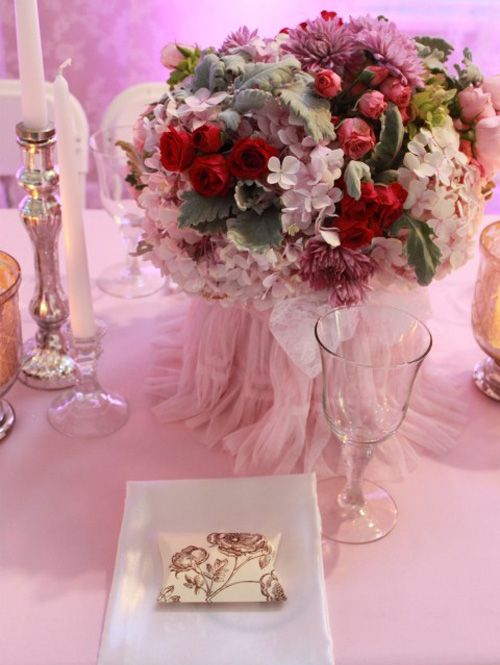 Elegant Luxury Pink Garden Fairy Baby Shower Table Setting