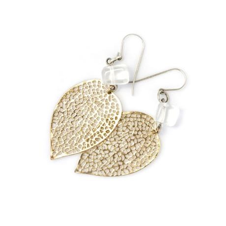 Blossom Handmade Leaves gold with clear stone  (EGLC)