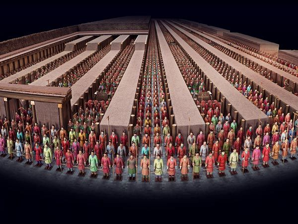 """These terra-cotta troops represent Qin Shi Huang Di's main army, which he sent out from his home state to conquer his warring neighbors and create a unified empire.  By including the #terra-cotta warriors in his cemetery, the emperor hoped to allow his spirit to """"take up his proper position in the other world, which in many ways was seen as a perfect image of this one,"""" said Stanford's Dien. #china"""