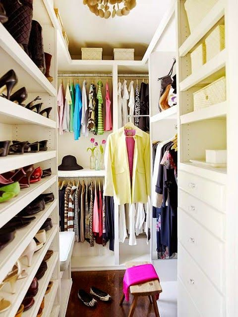 super small walk in closet with a smart shoe organizer