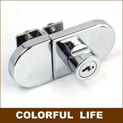Fechaduras armário de exposição de vidro liga de zinco porta dupla não há necessidade de perfuração(China (Mainland))
