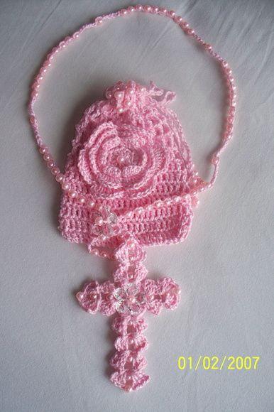 Terço Crochê Rosa