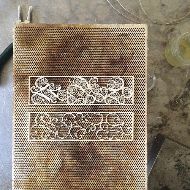 Working on a filigree cuff  #cuff #bracelet #filigree #handmade #cloudbracelet #jewellery #silver