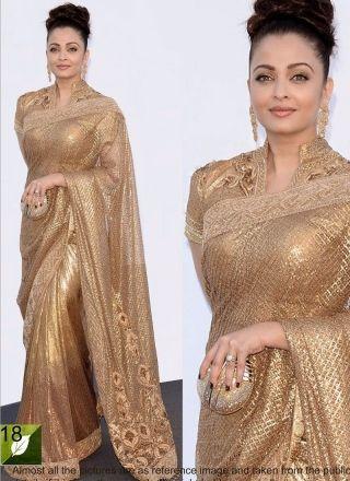 Aishwarya Rai Golden Embroidery Work Bollywood Saree http://www.angelnx.com/Sarees/Bollywood-Sarees