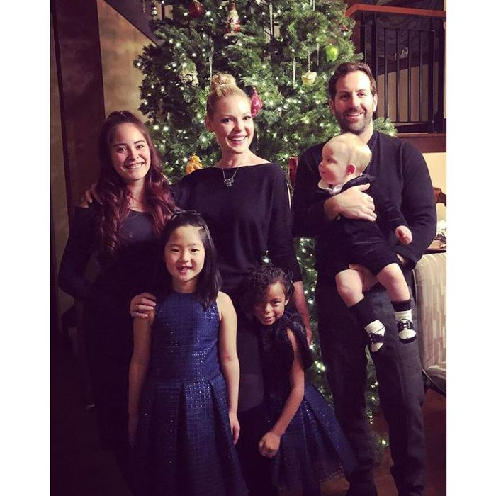 Katherine, Josh, their kids and niece all coordinated in navy for Christmas Eve 2017. Naleigh and Adalaide wore pretty navy dresses while Joshua Jr., who recently celebrated his first birthday, wore a sweater and shorts.
