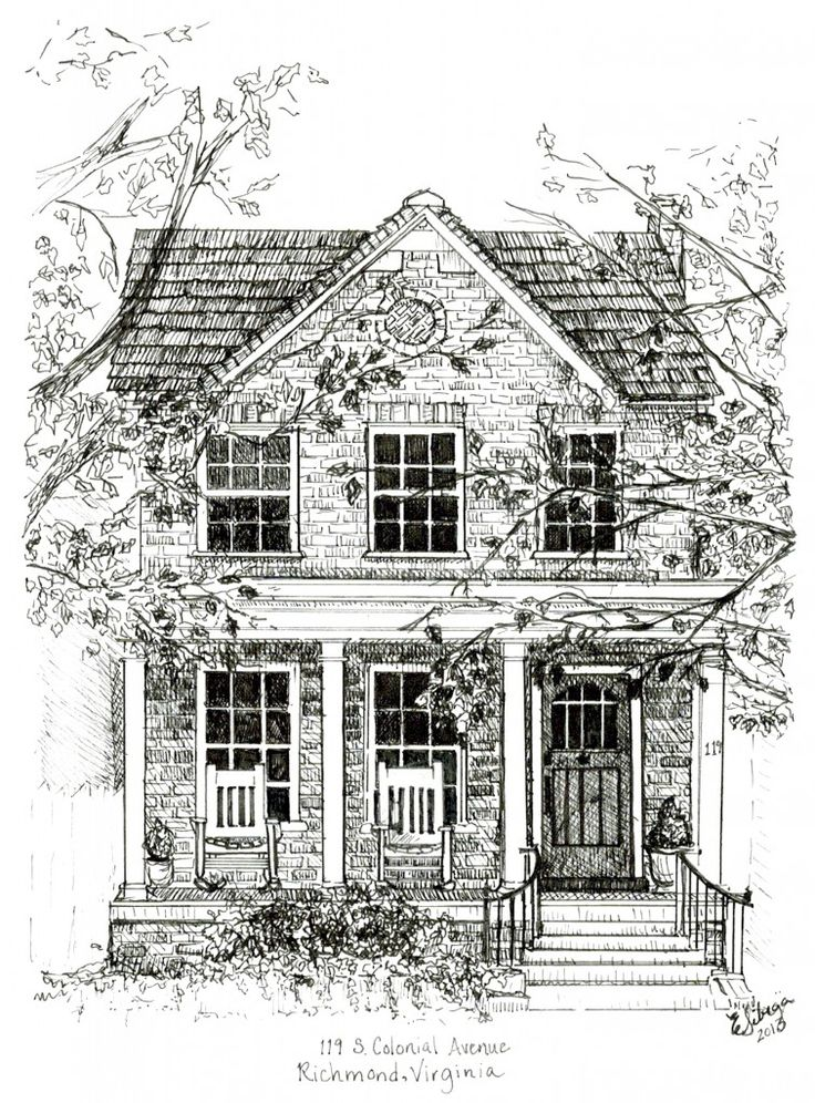 371 best houses illustrations exteriors black and white for House drawing easy