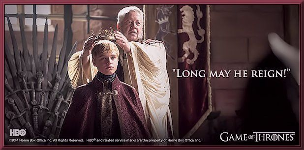 """King Tommen Baratheon, """"Long may he reign..."""", Season 4, Game of Thrones"""