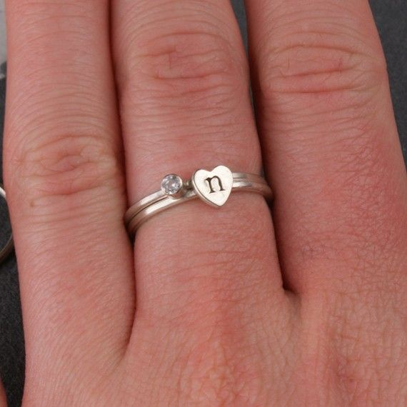Heart Initial and Birthstone Stacking Sterling Silver Rings - would love this with my daughters birthstone!  $42