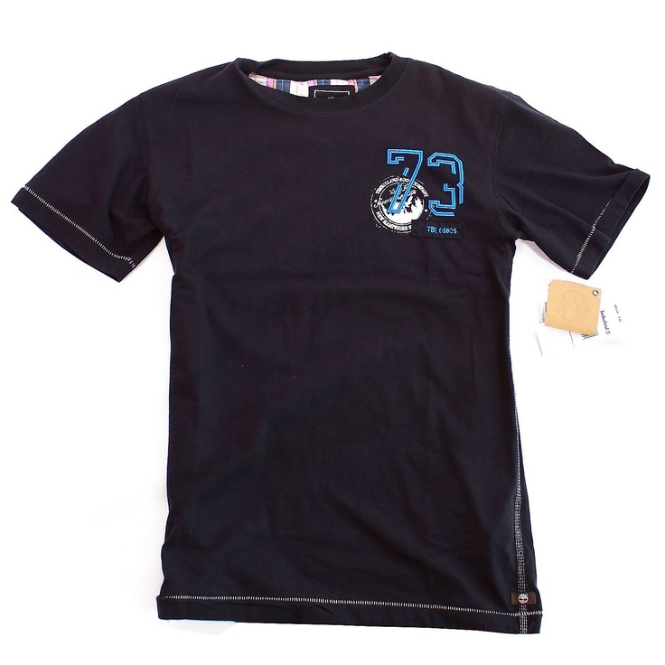 Timberland Black SS Applique Mens Designer Cotton T Shirt Top £22.95