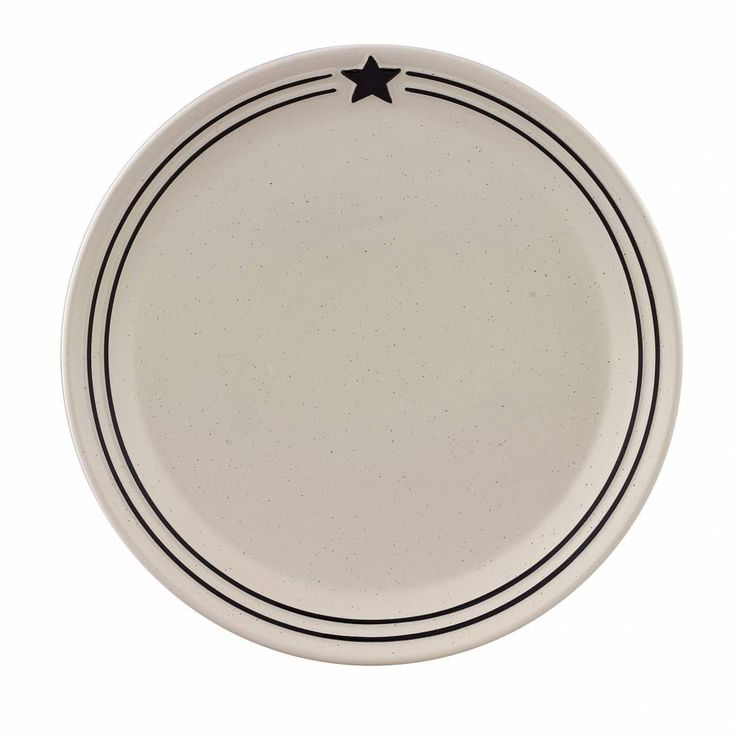 Country Star Dinner Plate Features Hand Painted Black And Stripe Details On A Speckled Cream