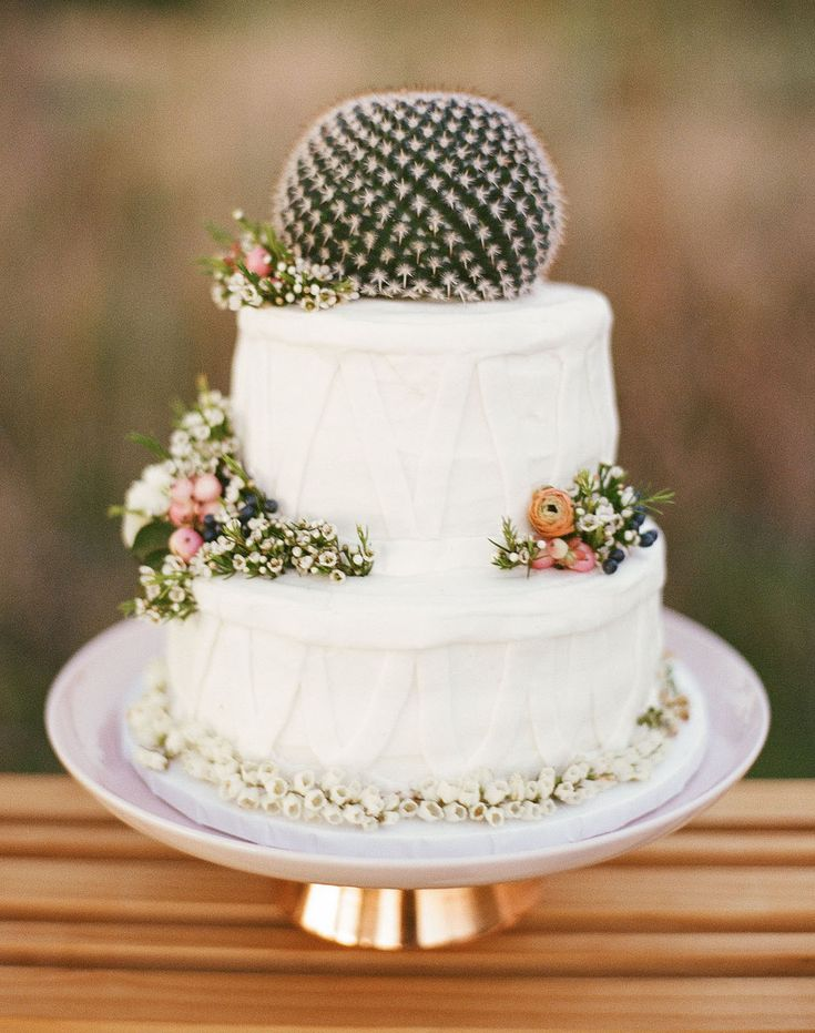 How adorable is this small wedding cake! Perfect for any western / desert theme wedding!