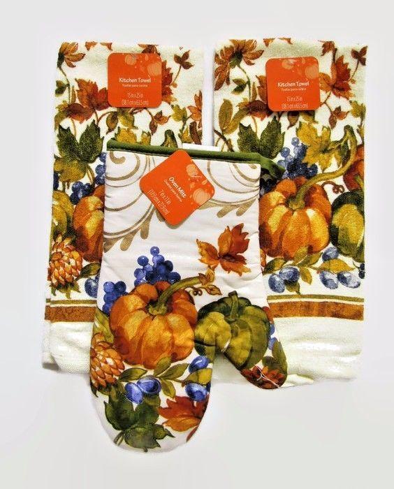 Thanksgiving Kitchen Linen Set 1 Potholder Mitt 2 Towels Pumpkin Harvest Design #WomenOwneddistributedbyWalmart