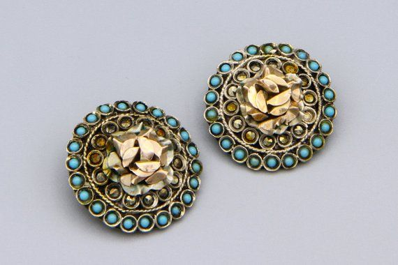 Sterling Silver And 10k Rose Gold Earrings Vintage Greek Jewelry Antique 1920s Rose Flower Clip On Earrings Turquoise Seed And Marcasite Rose Gold Earrings Greek Jewelry Byzantine Style Jewelry