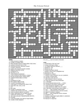 Colonizing America Crossword Puzzle | Social studies