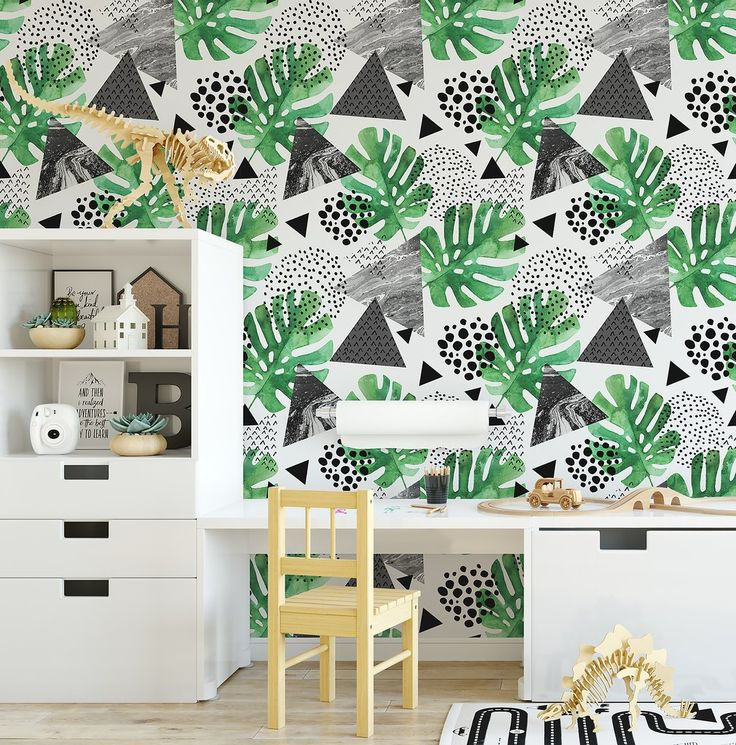 Tropical Monochrome Watercolour Wallpaper