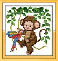 Ребенок обезьяна вышивки крестом комплект мультфильм количество холст стежков вышивка DIY ручной рукоделие 11ct плюс