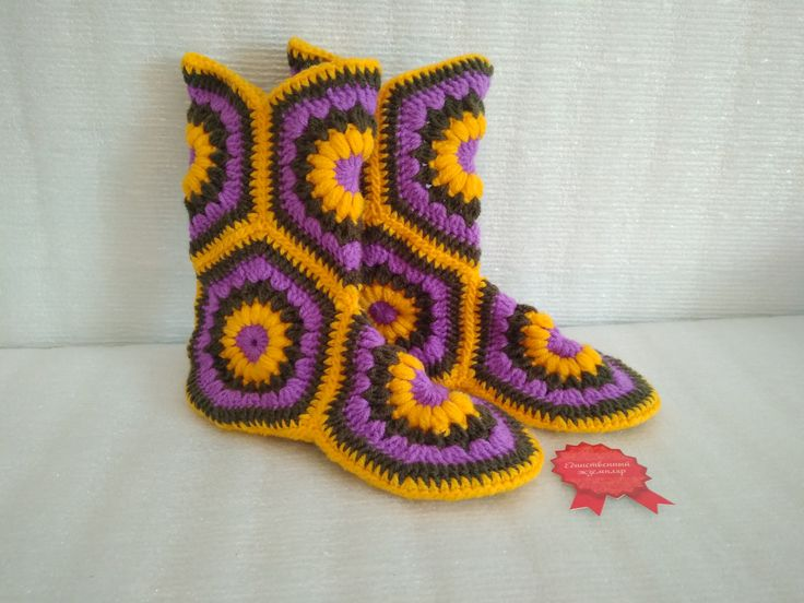 Knitted slippers/Children's shoes/Knitted shoes/Beautiful slippers/YellowSlippers/Art Shoes/Ethnic style/Warm slippers/Purple slippers Gift/