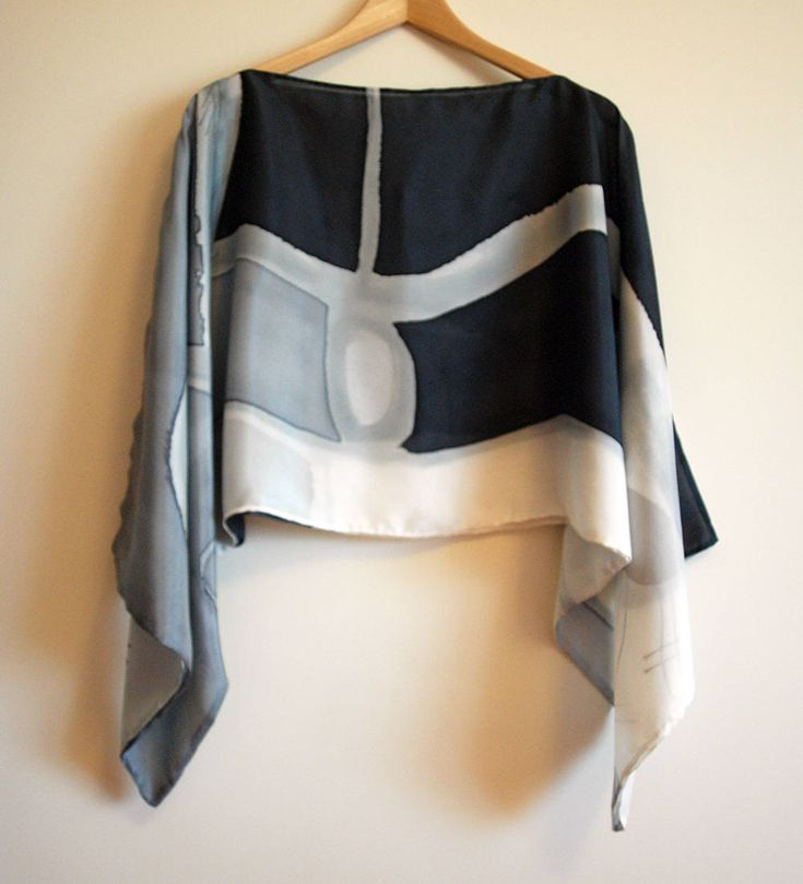 Silk blouse hand painted-Silk scarf- Scarves for her-Wedding silk top-Silk handpainted-Ooak silk blouse-Silk grey-black-white 55x18in de gilbea en Etsy