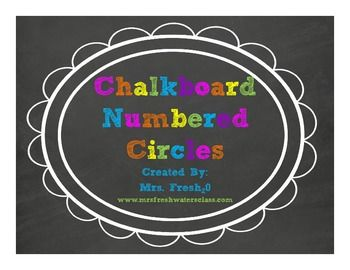 Chalkboard & Brights Library Bin Number Circles