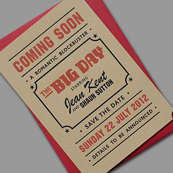 'Popcorn' Letterpress Wedding Stationery. Cute for how often Joey & I go to the movies