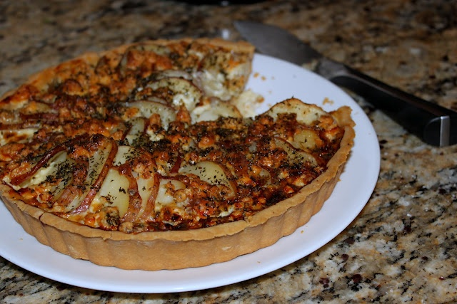 Blue Cheese and Potato Tart - add caramelized onion & bacon>?