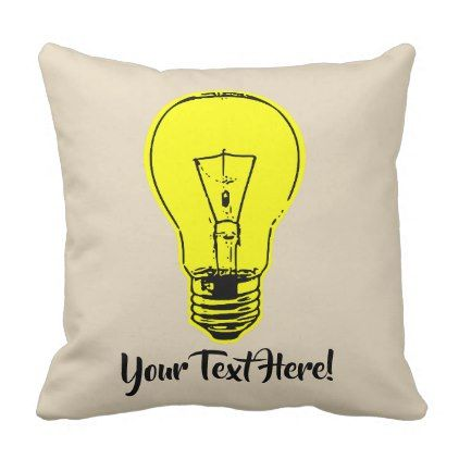 Lamp Yellow Throw Pillow - home gifts ideas decor special unique custom individual customized individualized