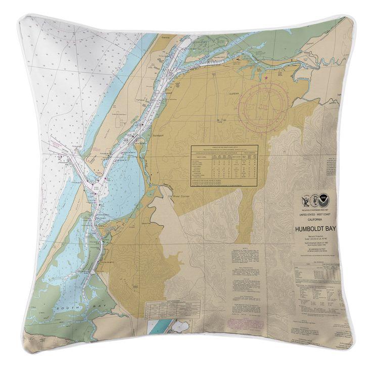 Louisiana Map Decor%0A CA  Eureka  Humboldt Bay  CA Nautical Chart Pillow