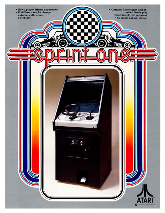 Sprint One  Logo, flyer and parts manual for Atari's Sprint One arcade game.  1978