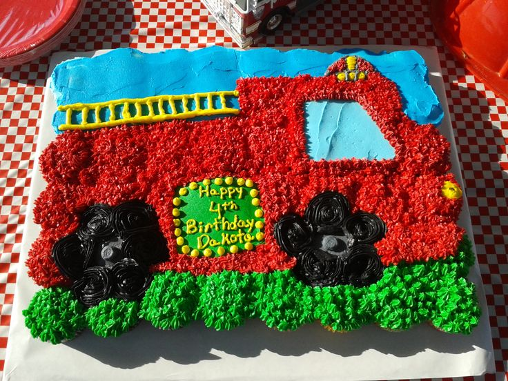 Firetruck cupcake cake perfect for a little boy!
