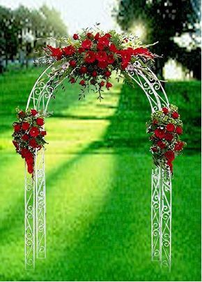 With increased budget red Wedding ceremony arch flower décor... wedding ceremony flowers, pew flowers, wedding flowers, add pic source on comment and we will update it. www.myfloweraffair.com can create this beautiful wedding flower look.