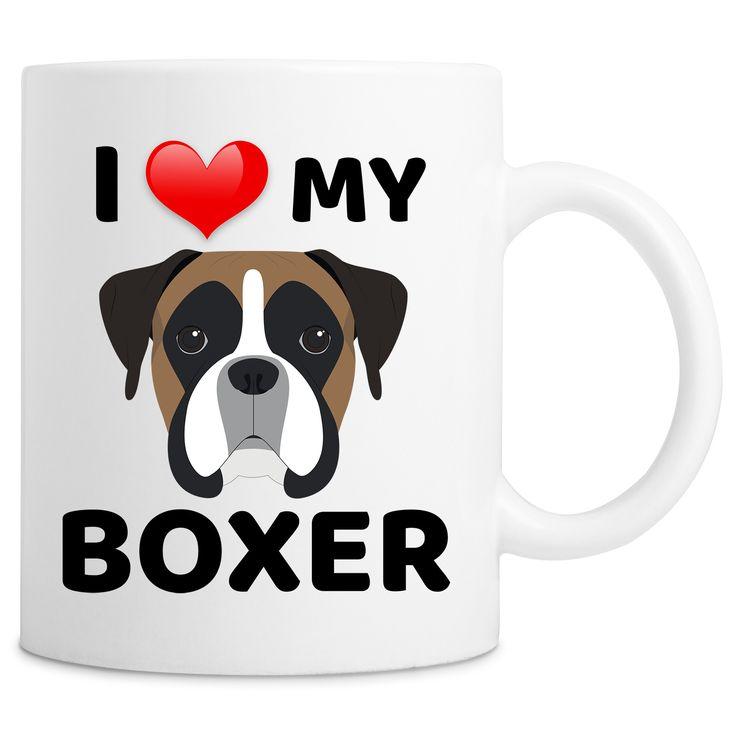 I Love My Boxer Dog Quote Novelty 11oz Ceramic Coffee Mug