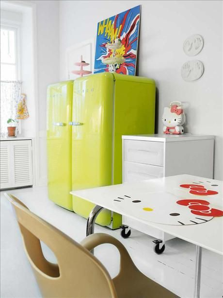 Colored refrigerators for a vintage kitchen decor for Smeg kitchen designs