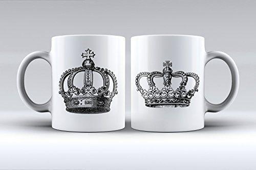 Pack 2 Tazas Coronas Rey y Reina Regalo Original