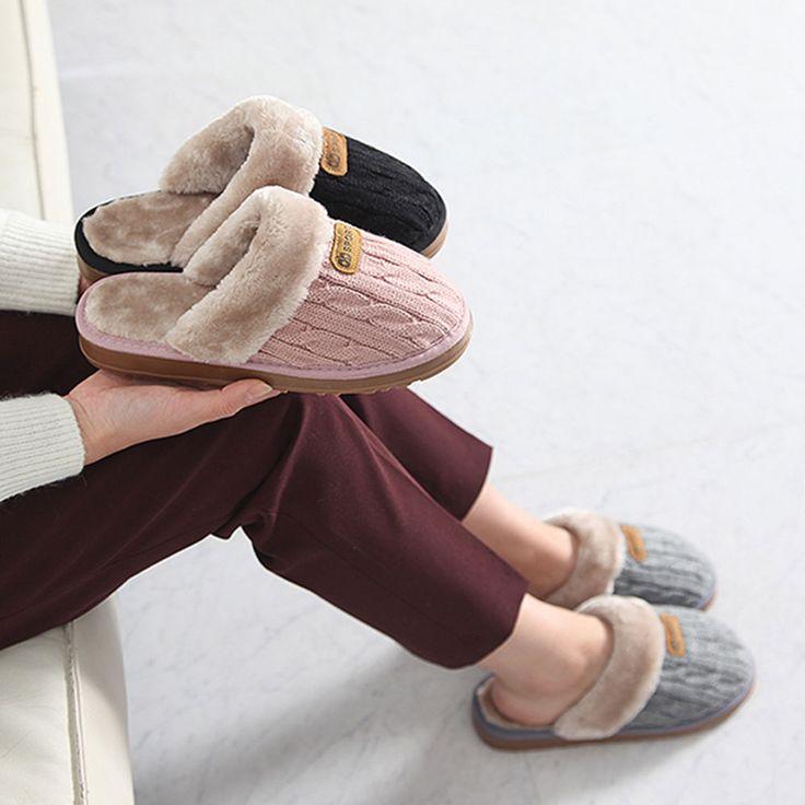 Made In Korea Women's Knitting Patterns Warm Slipper of Fur & Fabric Finish #DreamTree #SlipperShoes