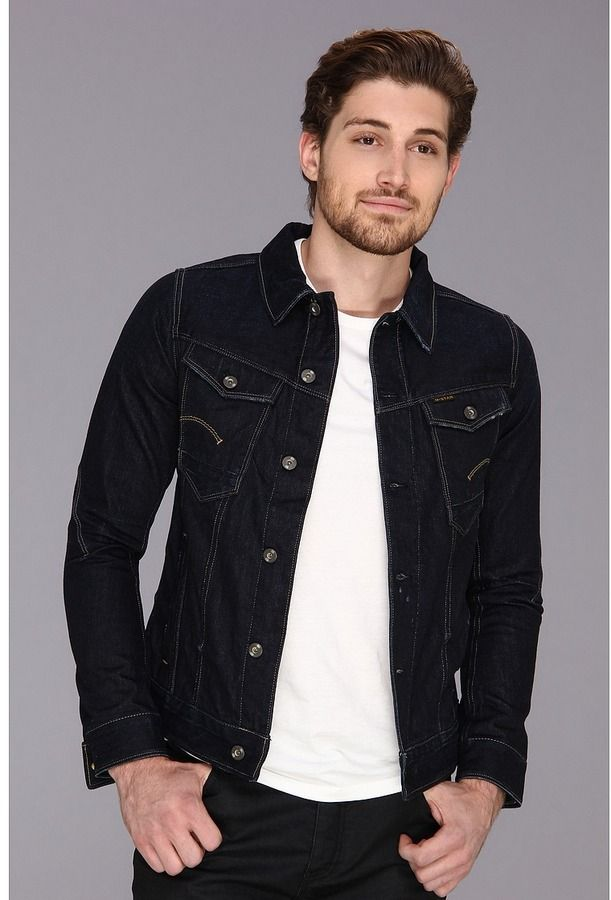 $240, Navy Denim Jacket: G Star Arc 3d Jacket Jacket by G Star. Sold by 6pm.com. Click for more info: http://lookastic.com/men/shop_items/14761/redirect
