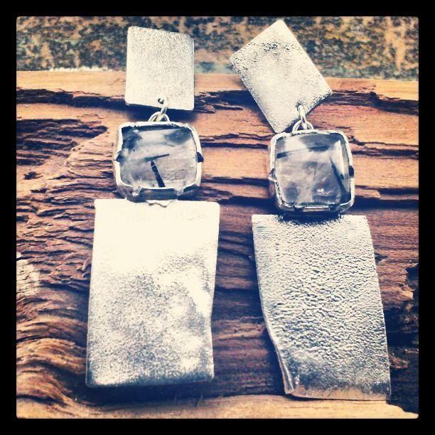 Aros Plata reticulada. Piedras: Cuarzos rutilados.