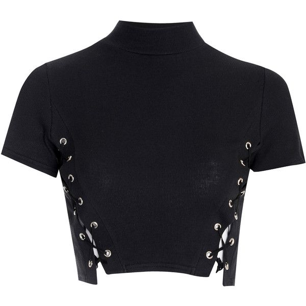 Black Polo Neck Crop Top With Lace Up Sides ($24) ❤ liked on Polyvore featuring tops, crop tops, shirts, black, cotton shirts, black crop top, cotton crop top, short sleeve tops and black shirt