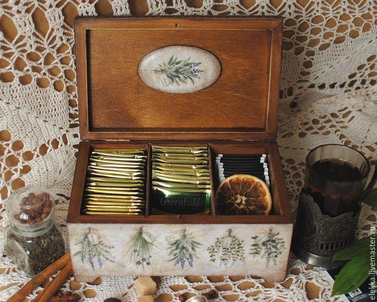 """Купить Чайная шкатулка """"Herbs"""" - чайная коробка, чайная шкатулка, чайный короб, для чая"""