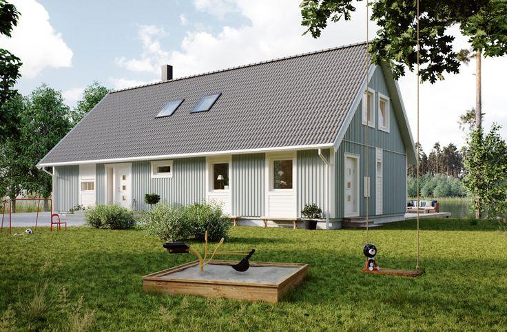 Villa Ljungby är en av våra större villor. På undervåningen finns ett rymligt kök i direkt anslutning till ett rejält vardagsrum där små otröttliga ben med glädje springa runt, runt! Här finns även två sovrum, allrum, klädkammare, badrum och tvättstuga. Med inredd övervåning blir husets totala boyta strax över 200 m2. #smålandsvillan #villaljungby #hus #bygganytt #nybyggnation #inspiration #hustillverkare