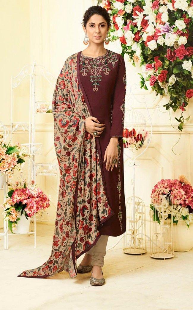 40df082be8 Brown Muslin Silk Salwar Kameez | Salwar Kamee | Churidar, Salwar ...