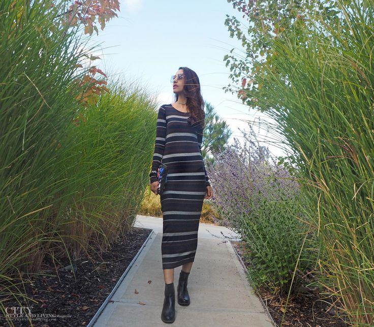 Cabernet striped midi dress with chelsea boots and miu miu sunglasses at culmina family estate winery. #stripedress #miumiuscenique