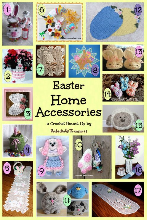 Easter Home Accessories Crochet Pattern Round Up via @beckastreasures