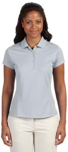 adidas A171 Ladies ClimaLite Textured Solid Polo - Chrome & White, Large