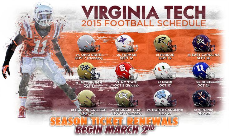 The 2015 Football Schedule is here! #Hokies #VirginiaTech #Football