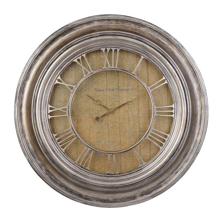 Geneva Antique Silver Wall Clock | Kirklands