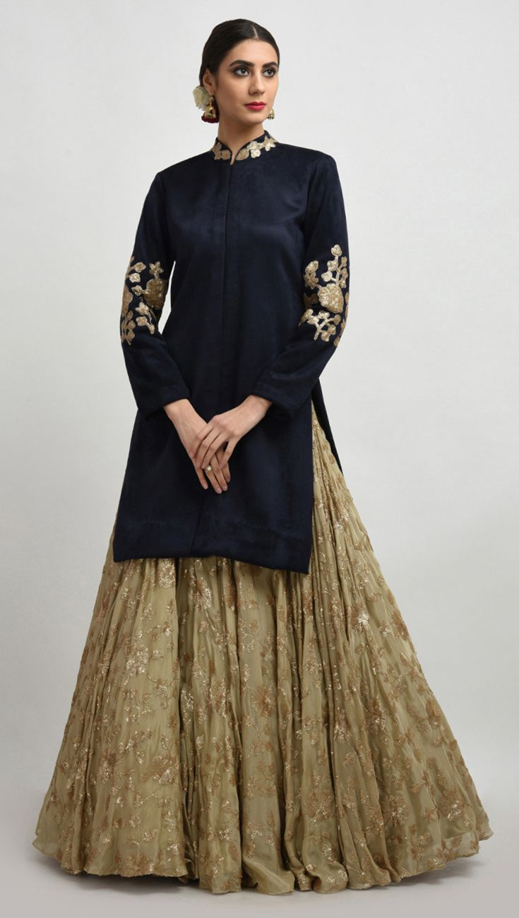 Navy Blue Sequin Embroidered Suede Jacket With Beige Gold Skirt