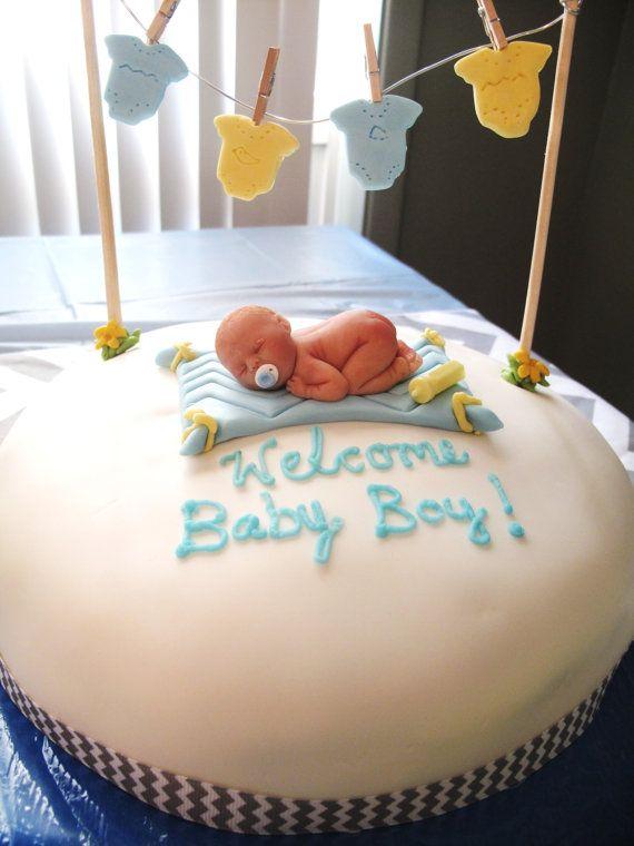 Sweet OOAK polymer clay baby BOY or GIRL sleeping baby shower cake topper $20.00